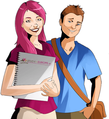 Two students inviting you to study a master's degree in Europe
