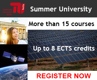 Banner about TU Berlin Summer University: more than 15 courses / Up to 8 ECTS
